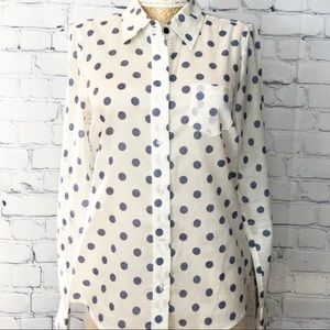 Boden Semi Sheer Blue Polkadot Button Down Blouse